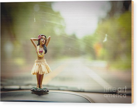 Hula Dancer Wood Print by Henry Lien