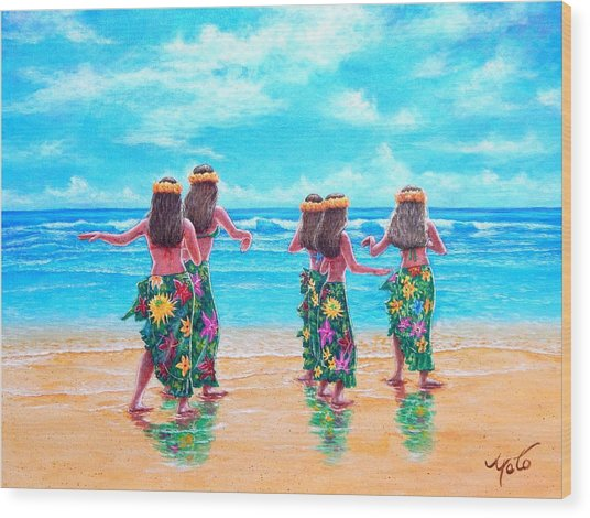 Hula Dancers Hawaii Wood Print