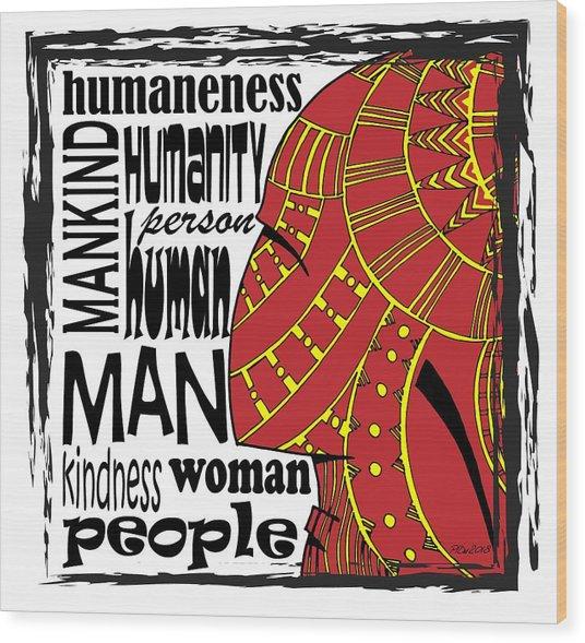 Human Being Wood Print