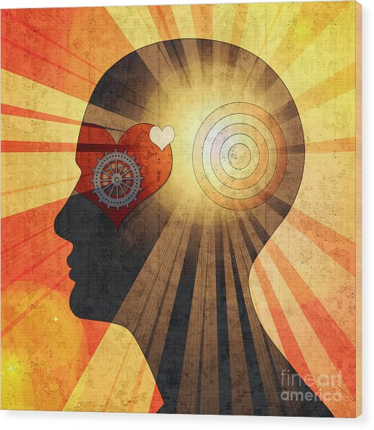 Human Head With Gears Heart Sun And Wood Print