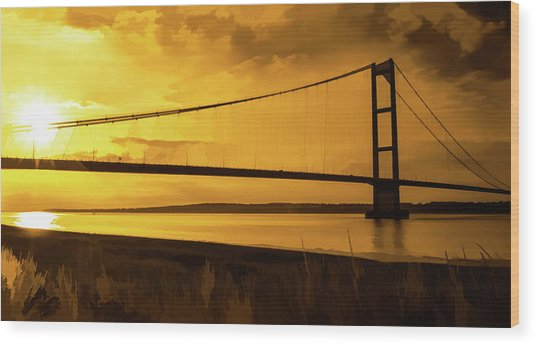 Humber Bridge Golden Sky Wood Print