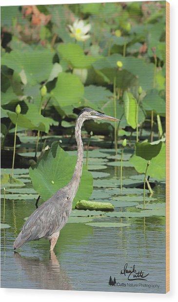 Hunting Among The Lotus Wood Print