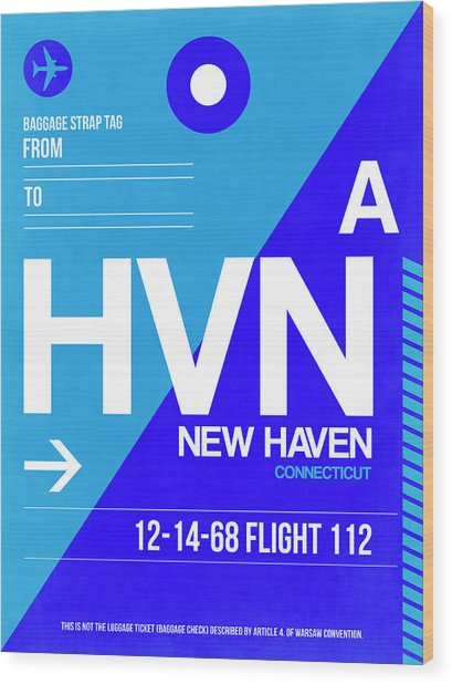 Hvn New Haven Luggage Tag II Wood Print