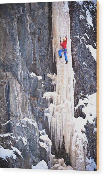 Ice Climber On A Icefall, Rjukan Wood Print