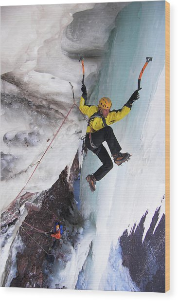 Ice Climber On Icy Rock Face, Mount Wood Print