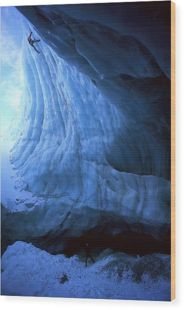 Ice Climbing On Pitztal Glacier, Tyrol Wood Print