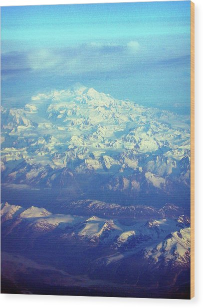 Ice Covered Mountain Top Wood Print