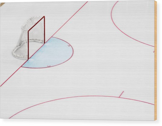 Ice Hockey Goal Net And Empty Rink Wood Print