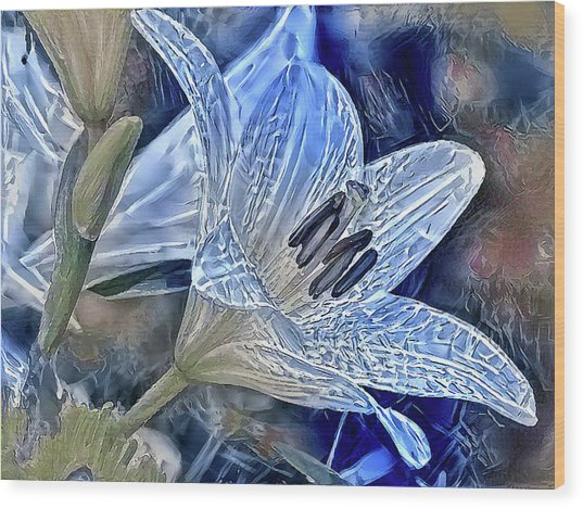 Ice Lily Wood Print