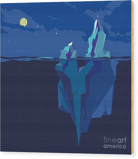 Iceberg Underwater And Above Water At Wood Print