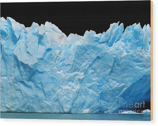 Icebergs Isolated On Black Wood Print