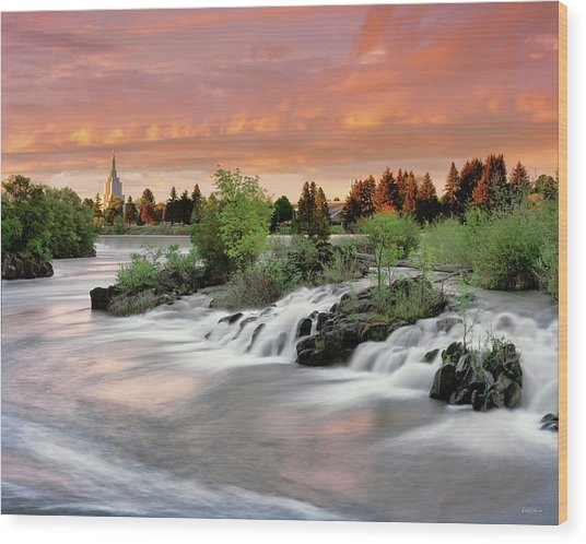 Idaho Falls Wood Print