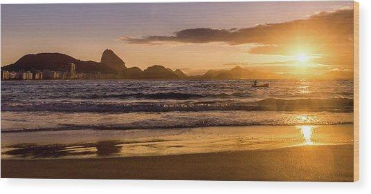 Idyllic Sunrise In Copacabana Beach In Rio De Janeiro, Brazil Wood Print