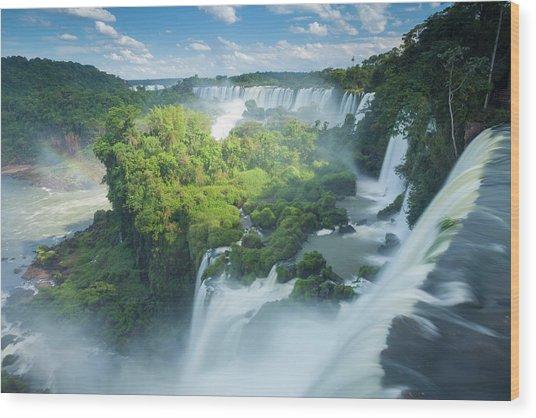 Igauzu Falls In Argentina Wood Print by Grant Ordelheide