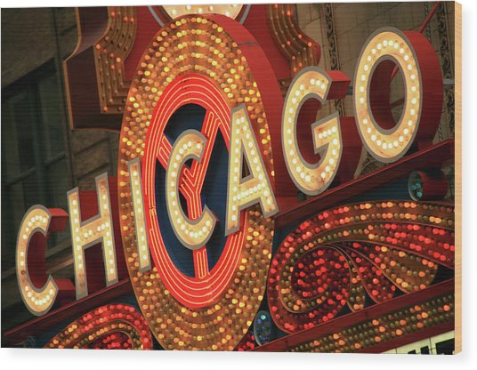 Illuminated Chicago Theater Sign Wood Print by Hisham Ibrahim