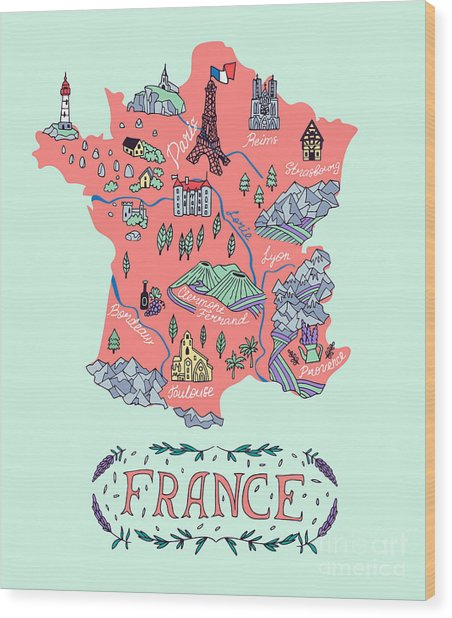 Illustrated Map Of France. Travel Wood Print by Daria i