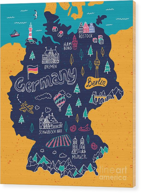 Illustrated Map Of Germany Wood Print