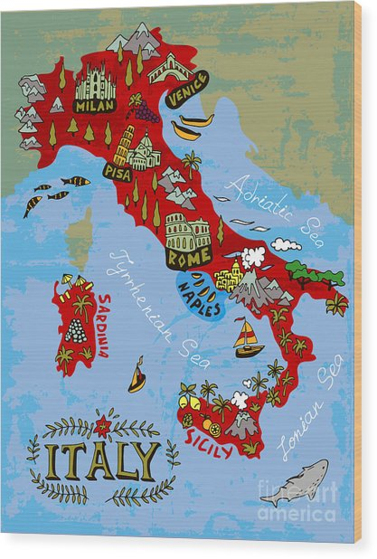Illustrated Map Of Italy. Travel Wood Print by Daria i