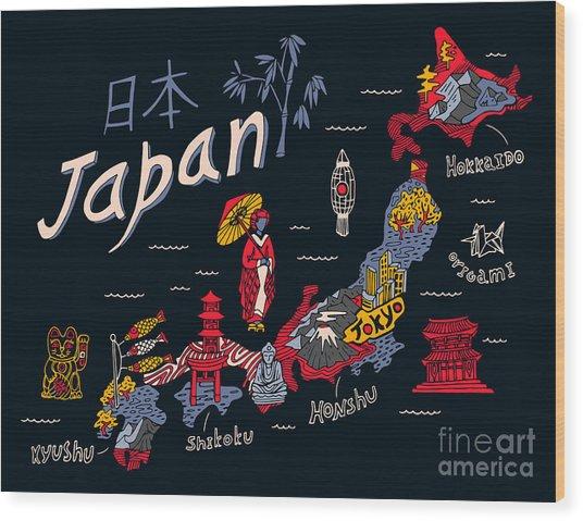 Illustrated Map Of Japan Wood Print