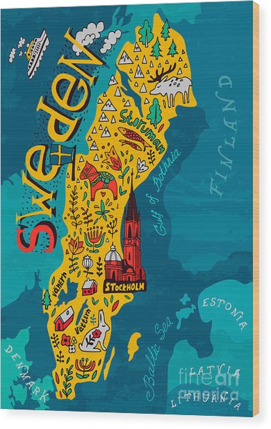 Illustrated Map Of Sweden Wood Print