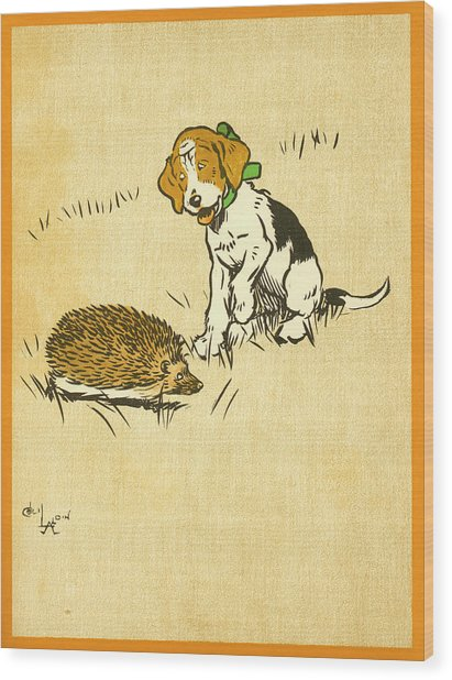 Puppy And Hedgehog, Illustration Of Wood Print