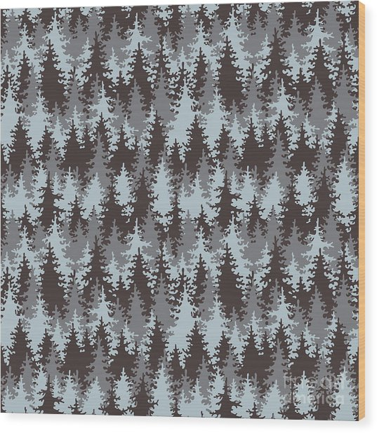 Illustration Coniferous Forest Wood Print
