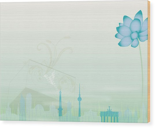 Illustration Of A Blue Flower And Wood Print by Stock4b-rf