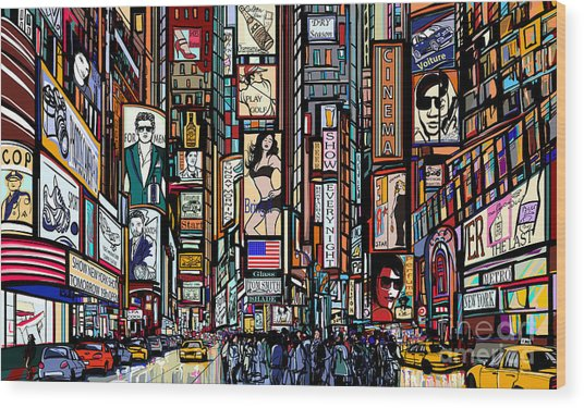 Illustration Of A Street In New York Wood Print