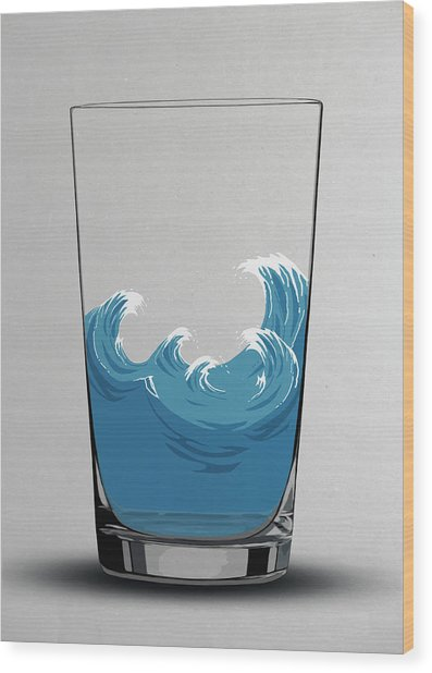 Illustration Of Choppy Waves In A Water Wood Print