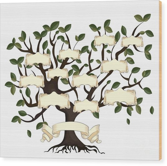 Illustration Of Family Tree With Wood Print
