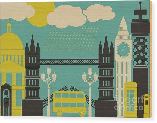 Illustration Of London Symbols And Wood Print