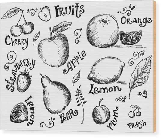Illustrations Of Various Fruits And Wood Print by Kalistratova