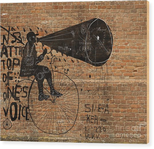 Image Of A Man Who Rides A Bike And Wood Print