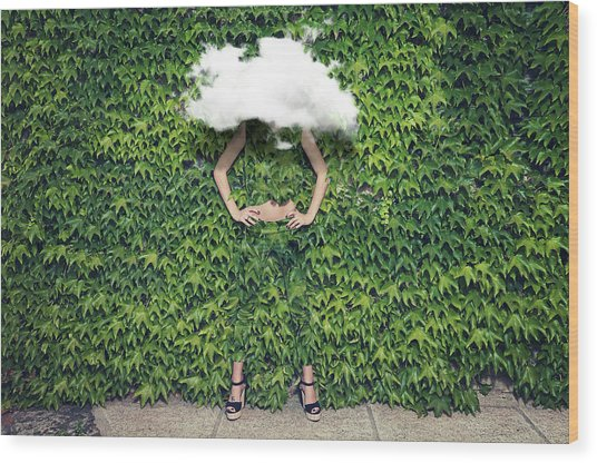 Image Of Young Woman On Ivy Plants And Wood Print by Francesco Carta Fotografo