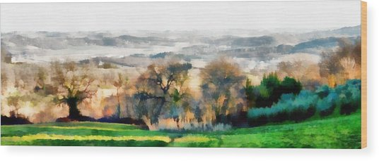 Impressions Of Early Morning In Umbria Wood Print