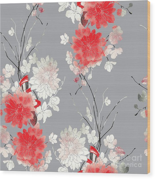 Imprints Sakura And Chrysanthemum. Hand Wood Print