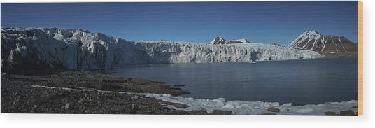 In Front Of A Glacier On Svalbard Wood Print