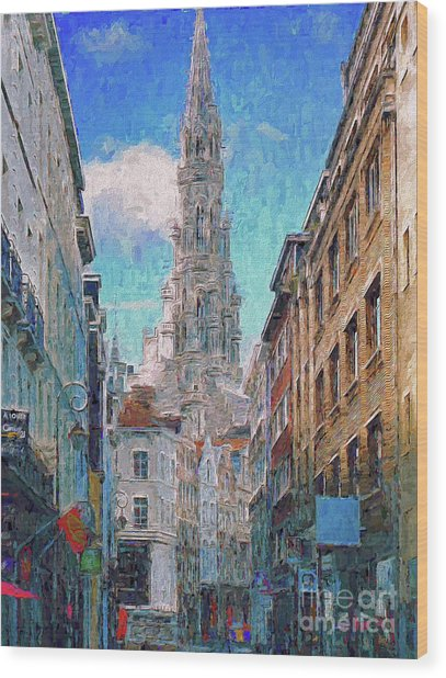 In-spired  Street Scene Brussels Wood Print