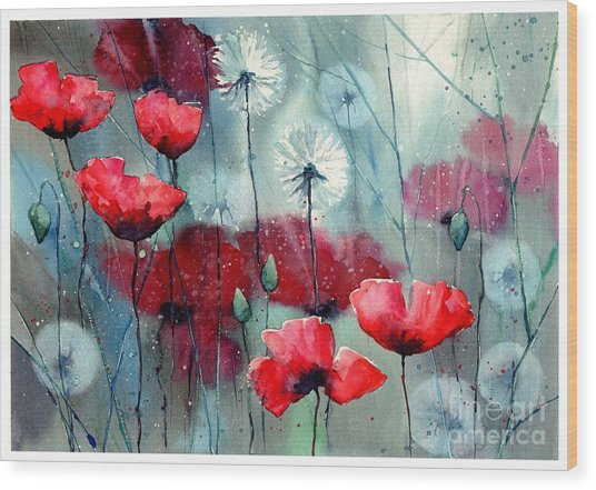 In The Night Garden - Rising Poppies Wood Print