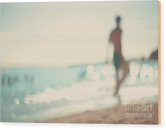In The Summer Vacation.silhouette Of A Wood Print
