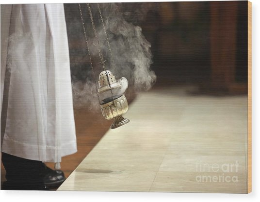 Incense During Mass At The Altar Wood Print