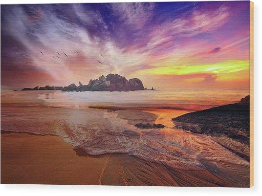 Incoming Tide At Sunset Wood Print