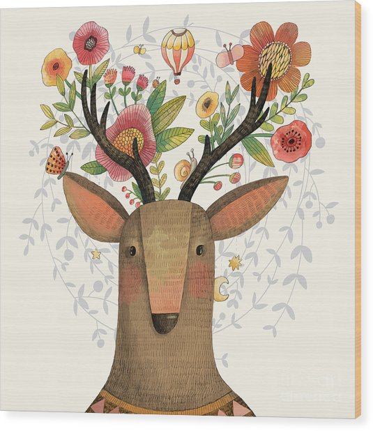 Incredible Deer With Awesome Flowers Wood Print