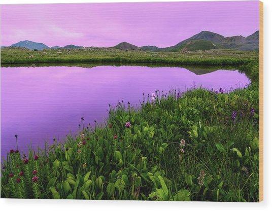 Independence Pass Purple Sunset Wood Print by Photo By Matt Payne Of Durango, Colorado
