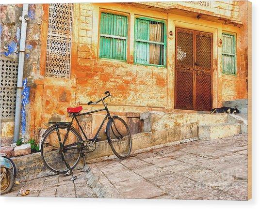 India. Indian Street In Rajasthan Wood Print