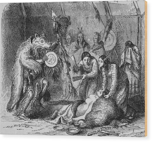 Indian Medicine Men At Work Wood Print by Kean Collection