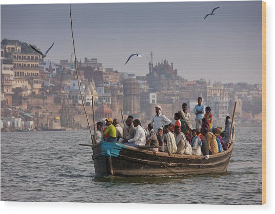 Indians Cruising River Ganges Wood Print by Tim Graham
