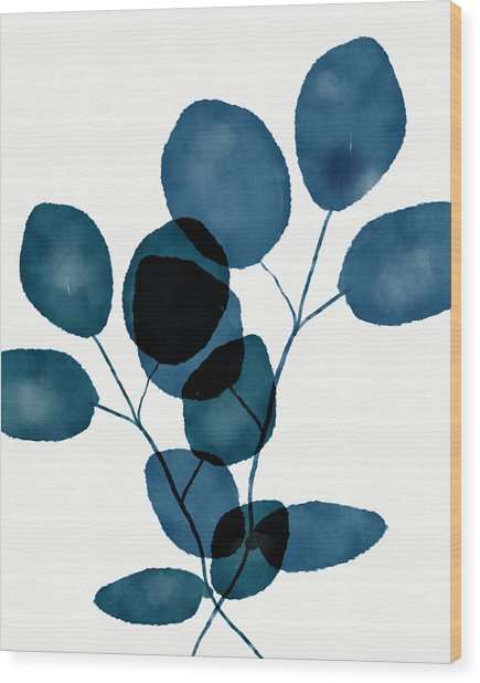 Indigo Eucalyptus 3- Art By Linda Woods Wood Print