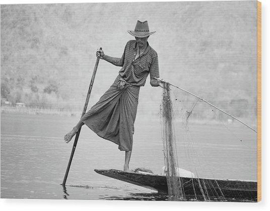 Inle Lake Fisherman Byw Wood Print
