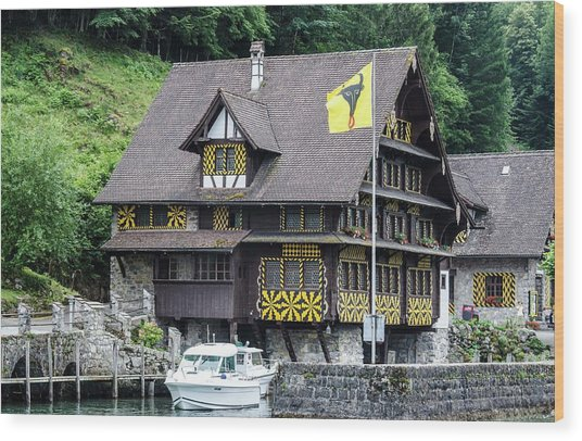 Inn On Lake Lucerne Wood Print
